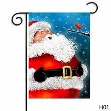 1PC Christmas Santa Claus Reindeer Snowman Garden Flag Indoor Outdoor Home Decor Winter Snowflake Festival Party 10 Styles