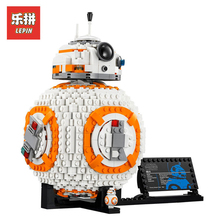 В наличии DHL Лепин комплекты Star Wars Фигурки 1238 шт. 05128 BB8 модель робота здание Наборы блоки кирпичи развивающие игрушки для детей 75187