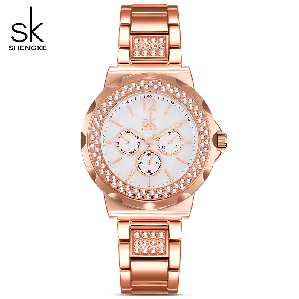 SK Rose Gold Classic Round Crystals Watch For Women Watches Ladies Quartz Analog Clock Watch Women