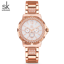 SK Rose Gold Classic Round Crystals Watch For Women Watches Ladies Quartz Analog Clock Watch Women's Steel Bracelet WristWatches