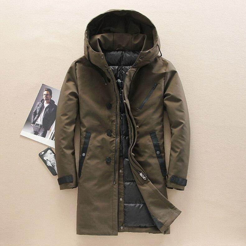 Mens Hooded Long Duck   Down   Jackets Man Thick Winter   Down     Coats   Male Fashion Long   Down   Overcoat Keep Warm Outerwear JK-3066