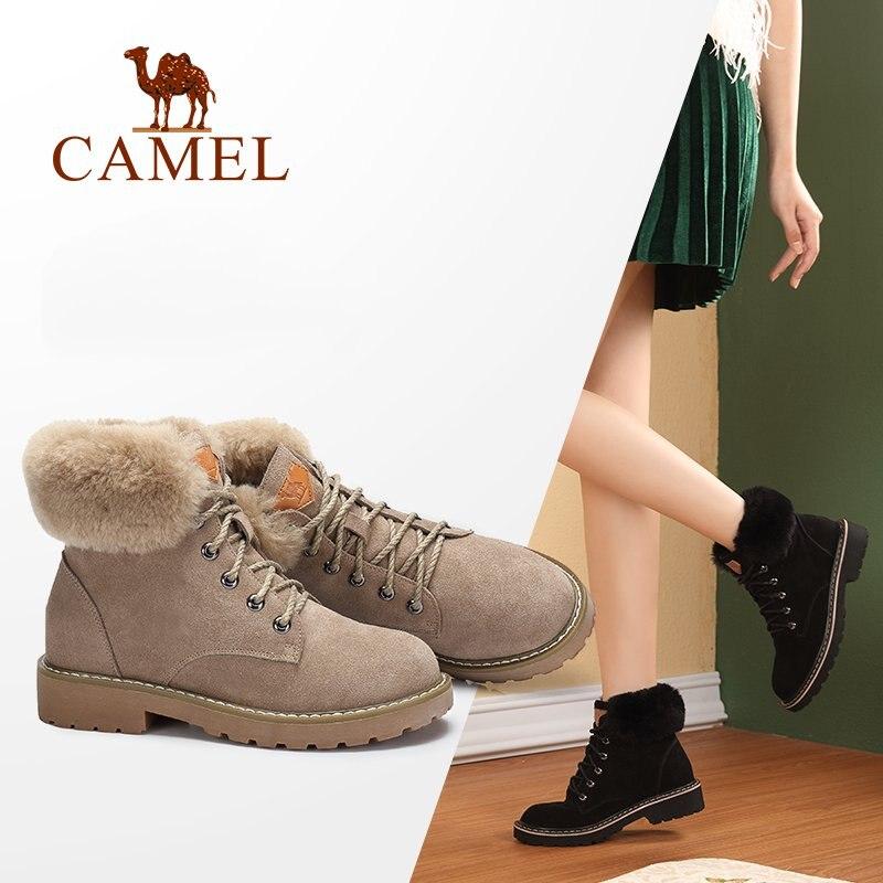 Верблюд ботильоны для Для женщин 2018 г. Зимние Модные полусапожки обувь Для женщин Утепленная одежда Удобная обувь для дам