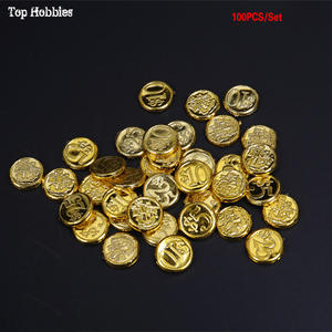 Action-Figures-Toy Coins Treasure Chest Pretend Pirate Gold Plastic 100pcs/Lot Scene-Props
