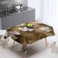 Else Brown Wooden Aging White Flowers 3d Print Washable Dustproof Thicken Cotton Cloth Rectangular Square Kitchen Tablecloth