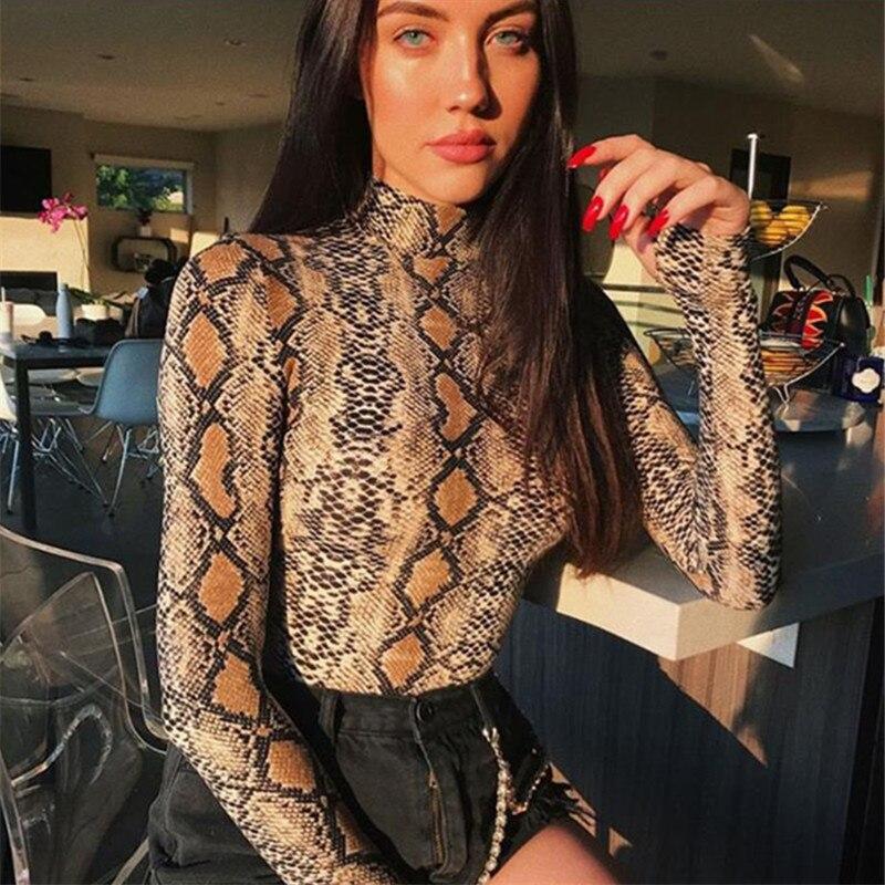 2019 Fashion Spring Sexy Serpentine Printed Women T Shirt Slim Long Sleeve Turtleneck Women Tops O Neck Streetwear T Shirt