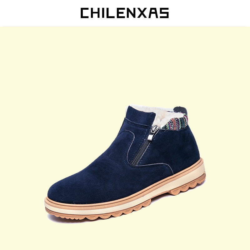 CHILENXAS Brand 2017 Fashion Winter Shoes Men PU Leather Snow Ankle Boots High Quality Comfy Casual Shoes Men Height Increasing top new men boots fashion casual high shoes cowboy style high quality lace up classic leather ankle brand design season winter