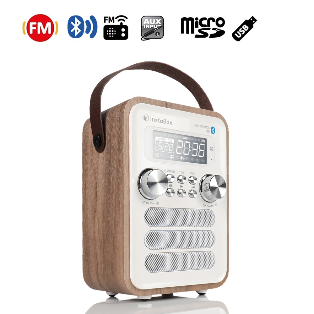 лучшая цена InstaBox i10 Digital FM Radio Multi-Functional MP3 Player Wooden Clock Radio Handle Portable Retro Bluetooth Speaker Micro SD/TF