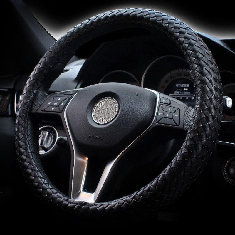 Men Car Steering Wheel Covers Braid Genuine Leather Steering Wheel Cover Anti slip Classic Weave Car Styling Interior Accessory