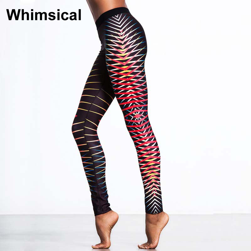 Whimsical Print Striped High Waist Yoga Pants Sport Tights Compression Leggings Women Fitness Gym Running Workout Jogging Pants tights