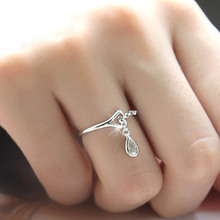 Woman New Fashion Silver Color Water Droplets Ring For Women Opening Adjustable Cute Heart-shaped Crystal Ring Girl Jewelry