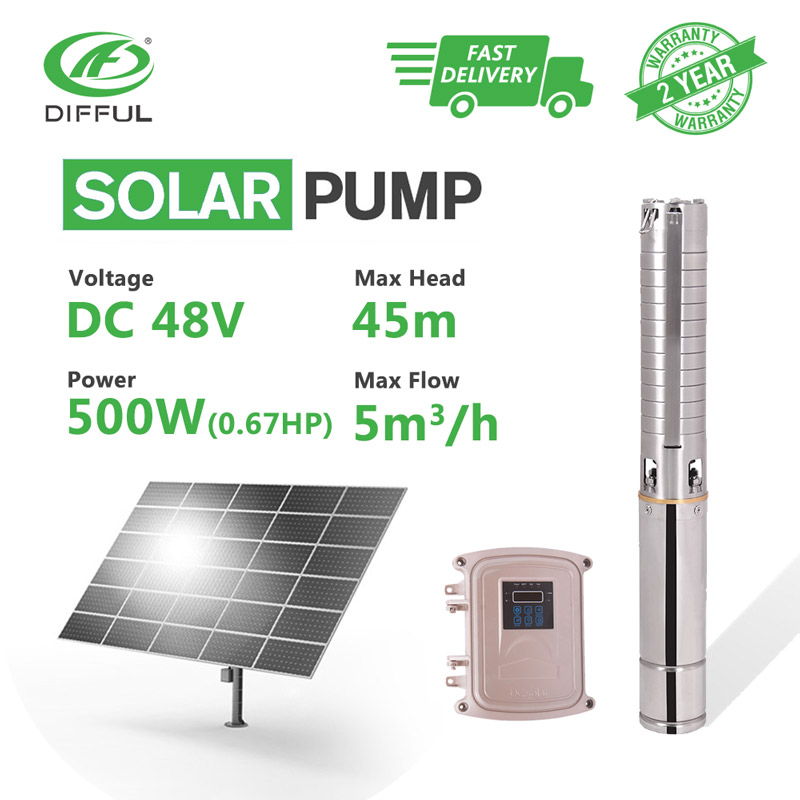 4 DC Submersible Deep Well Solar Water Pump MPPT Controller Stainless Steel Impeller 48V 500W 5T/H Flow 45m Head Water Supply