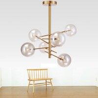 Современные подвесные светильники волшебные бобы стеклянные подвесные светильники пузырь Hanglamp из золотистого металла Luminaria Кухня освещен