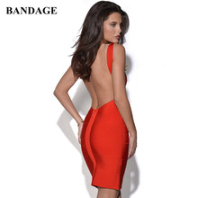 Sexy Backless Mini Bandage Dress Red Black White Yellow Blue Spaghetti Strap Dresses Celebrity Party Club Vestido Free Shipping(China)