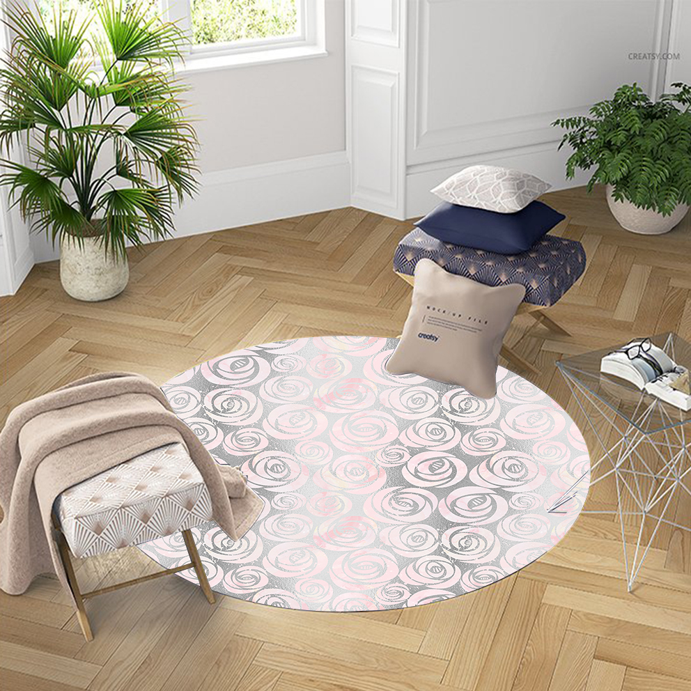Else Pink Gray Roses Flowers Vintage Nordec 3d Pattern Print Anti Slip Back Round Carpets Area Rug For Living Rooms Bathroom
