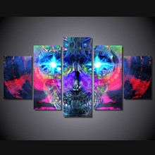 Canvas HD Printed Wall Art Pictures Framework Home Decor Room Poster 5 Piece Psychedelic Artistic Skull Painting Cross
