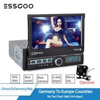 ESSGOO 7 Car Radio 1 Din Autoradio Bluetooth GPS Car Multimedia MP5 Player Retractable Touch Screen AUX MP3 FM USB Rear Camera