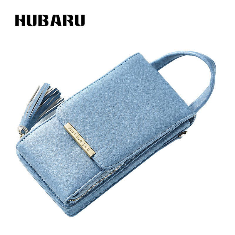 HUBARU Women Wallets Black Color Zipper Chains Wallet Female Fashion PU Leather Clutch Clamp Standard Slim Design Coin Purse