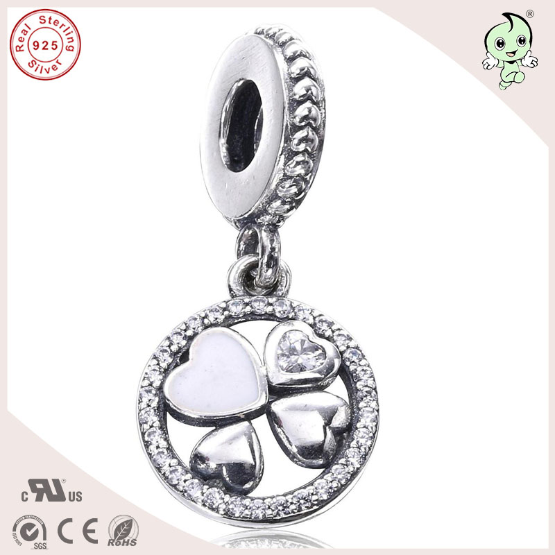 P&R Good Quality New Collection Clover Design 925 Real Silver Pendant Charm Fitting European Famous Bracelet