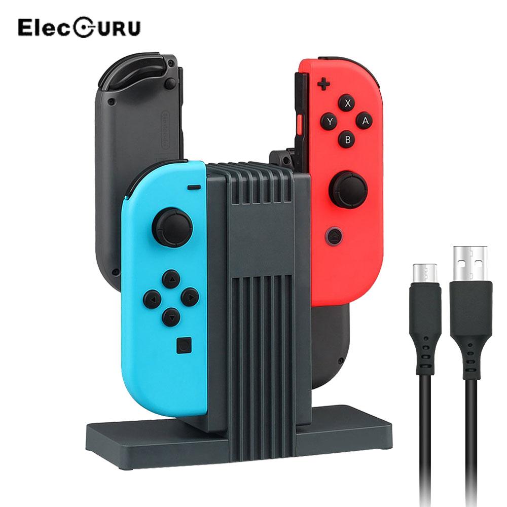 4 в 1 подставка для зарядки для контроллера Nintendo Joy Con Controller LED Зарядка для док-станции Зарядное устройство для Nintend Switch NS