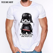 2017 Animal Design panda Wars T-Shirt Men's Custom Cartoon Panda/Cat Darth Vader Printed T Shirt Summer Hipster Male Tops