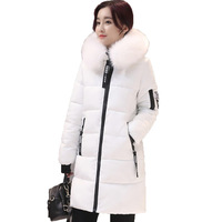 Новый большой меховой воротник зимние пальто Для женщин Письмо Тонкий толстые теплые хлопковые парки средней длины капюшон