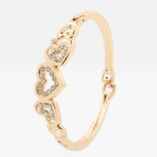 Fashion New Gold Color Clear Crystal Heart Bracelets & Bangles Jewelry Gift For Women's Girl's