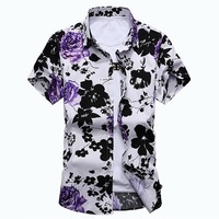 Men Red Floral Shirt Short Sleeve Fashion Summer Mens Hawaiian Shirts Cotton Big Sizes M 7XL DT515
