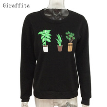 Giraffita 2017 Simple College Wind Potted Plant Embroidery Loose Section Hedging Long-sleeved Sweatshirt