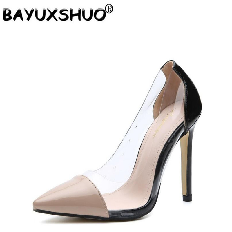 9cbd27b48e2 BAYUXSHUO Brand Women Pumps Clear PVC High Heels Sandals Point Toes  Stilettos Pumps Nightclub Dress Work Shoes Woman Plus Size-in Women s Pumps  from Shoes ...