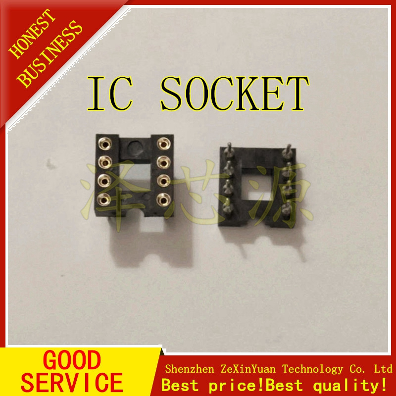 10PCS/LOT GOLD PLATED IC SOCKET 8P ROUND HOLE IC SOCKET DIP-8 ROUND PIN 8 CHIP SEAT OP AMP HIGH QUALITY
