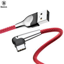 Baseus USB Led Light Mobile Games Cable USB Type C Cable For Xiaomi Mi8 Mi 8 SE Fast Charge USB-C Cable for Samsung S9 S8 Plus