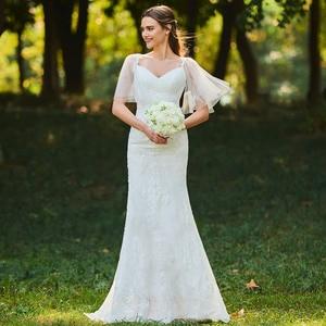 Image 2 - Dressv ivory mermaid lace wedding dress sweetheart neck short sleeves floor length bridal outdoor&church wedding dresses