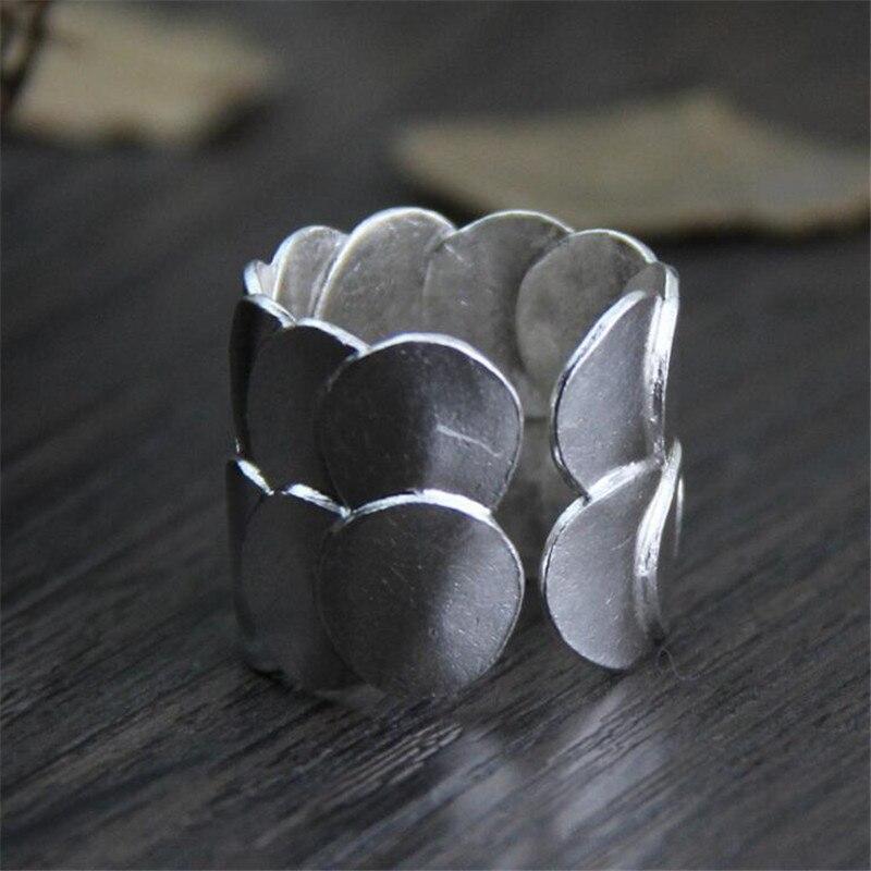 Sólido 999 Sterling Silver Handmade do vintage Anéis de Dedo Para Homens E Mulheres de Abertura Prata Thai Fine Jewelry WT081
