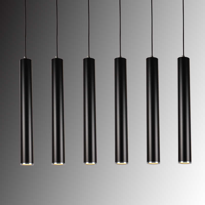 de aluminio de lámparas colgante colgante luces moderna de luz de tubo minimalistas iluminación suspensión colgantes Lámpara de tubo cilindro LED l3F1JTKc