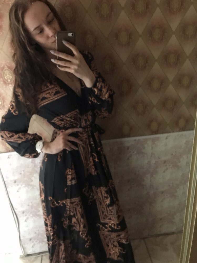 V Neck Scarf Print Belted Wrap Casual Dress Women Spring Long Sleeve Party Maxi Dress Vacation Ladies Dresses photo review