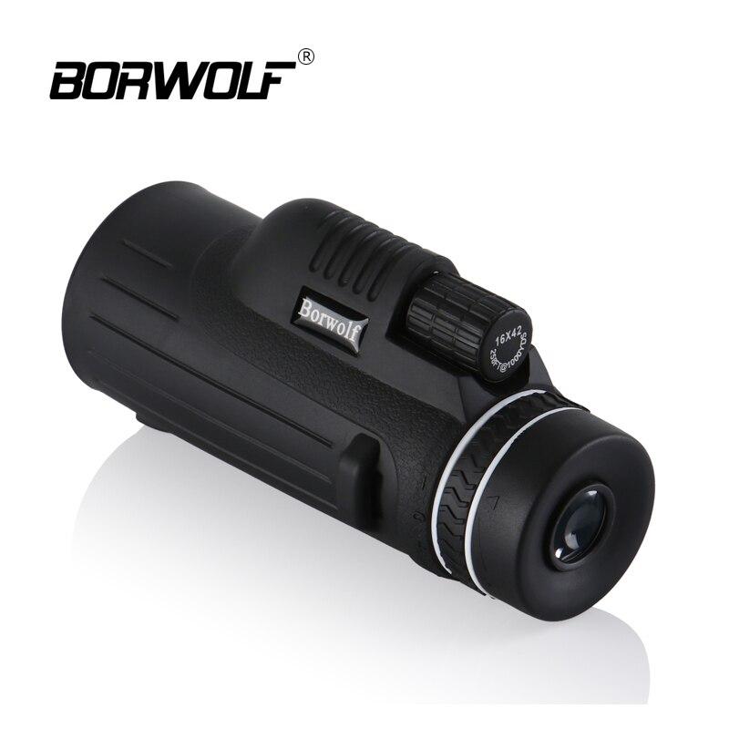 Borwolf Портативный охоты 16X42 Водонепроницаемый BAK4 свет Ночное видение HD Нескользящие Увеличить Монокуляр