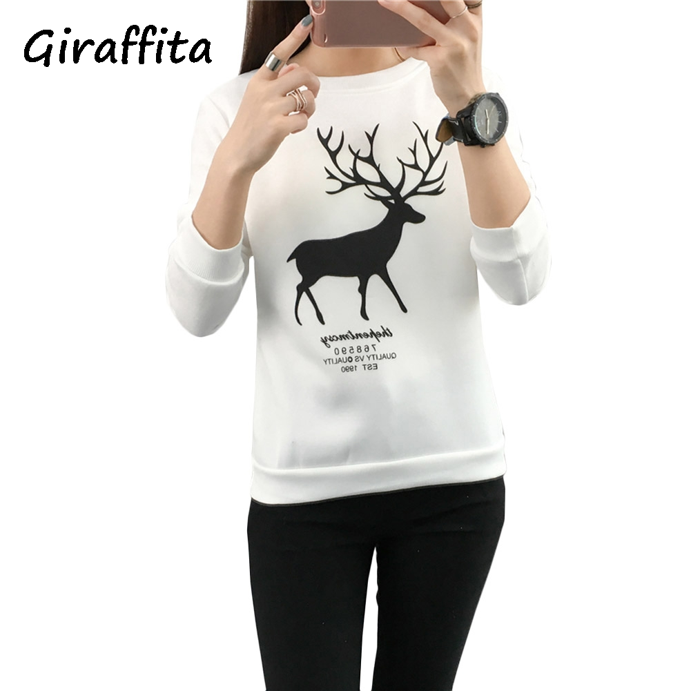 2018 Giraffita New Autumn Winter Women Fashion Cute Cartoon Sweatershirt Loose Casual Female Cloth