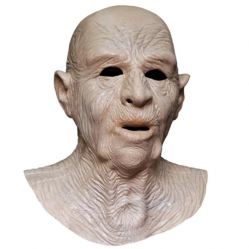 Wrinkled Man Mask Realistic Old Man Face Mask Halloween Human Full Overhead and Neck Costume Adult Masks