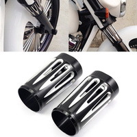 Motorcycle CNC Billet Aluminum Black Deep Edge Cut Fork Boot Slider Cover Cow Bells For Harley