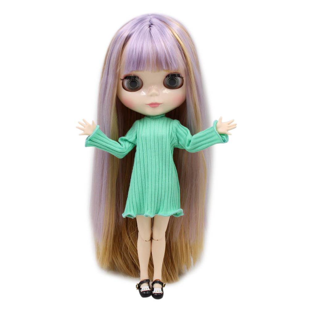 factory blyth doll BL1049 0538 purple and brown hair white skin joint body 1 6 30cm