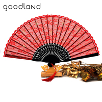 Wholesale Free / Drop Shipping 100pcs/lot Glitter Floral Red Folding Lace Hand Fan Wedding Party Bridal Dance Dancing Fans