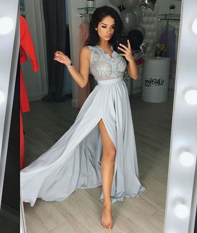 Gray v neck Chiffon Lace long Bridesmaid Dresses  Wedding Party Dresses Cheap  Bridesmaid Dresses