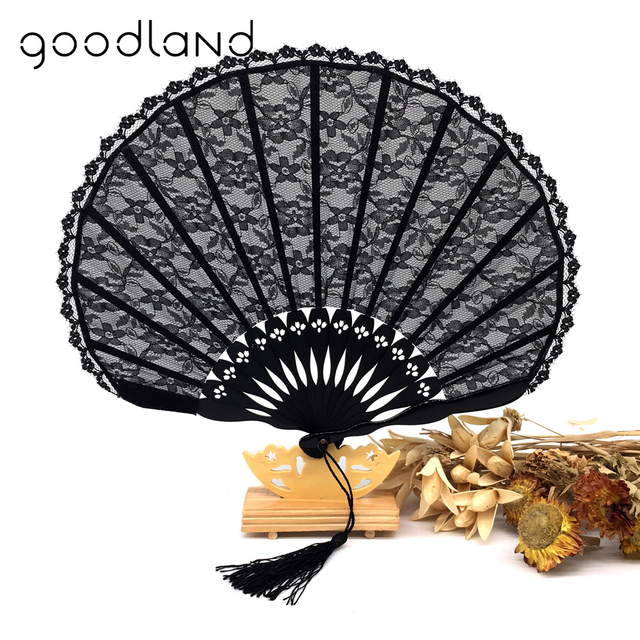 Free Shipping 1pcs Lace Edge Fancy Bamboo Hand Fan Black Folding Fans Outdoor Wedding Party Favor Event & Party Supplies