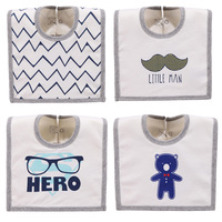 4PCS LOT Cotton Cute Animal Bear Beard Tie Hero Print Waterproof Baby Boys Bibs Set