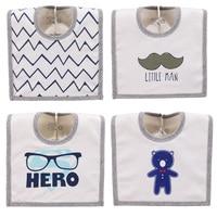 4PCS LOT Cotton Cute Animal Bear Beard Tie Hero Print Waterproof Baby Boys Bibs Set