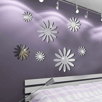 Flower Crystal Acrylic Mirror Decorative Sticker 3D DIY Wall Sticker Wall Decal Home Decol Home Decoration Bathroom Shower Room 7