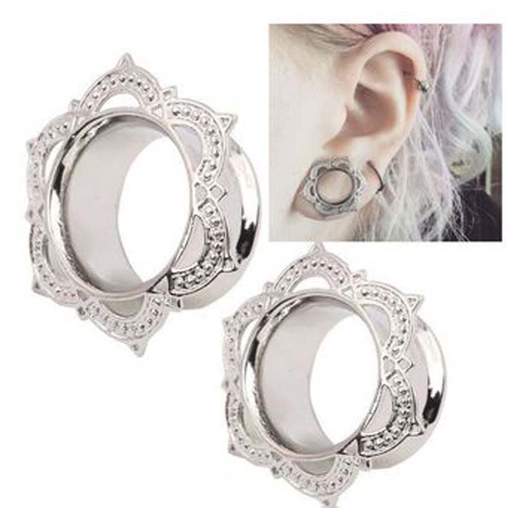 Jewelry Expander-Gauge Tunnel-Ear-Plugs Flower Body-Piercing Flesh Women Flared Copper-Ear