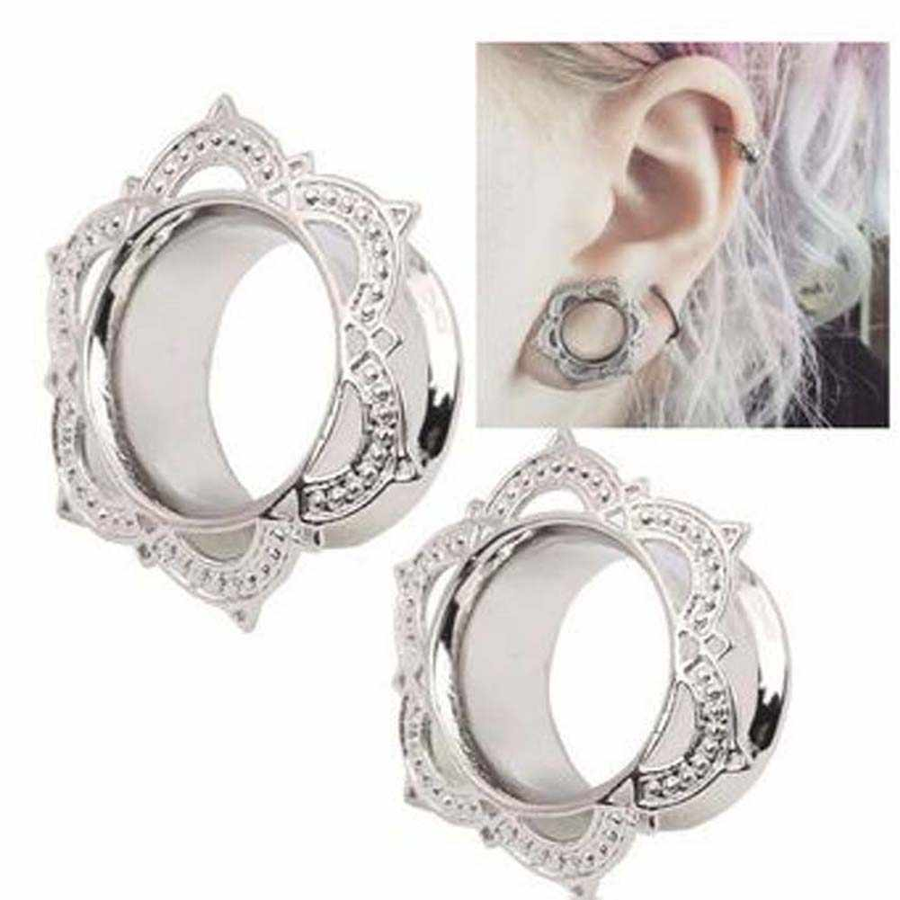 1 Piece!!! wanita Pria Bunga Tembaga Berkobar Daging Tunnel Ear Plugs Ear Expander Gauge Body Piercing Jewelry
