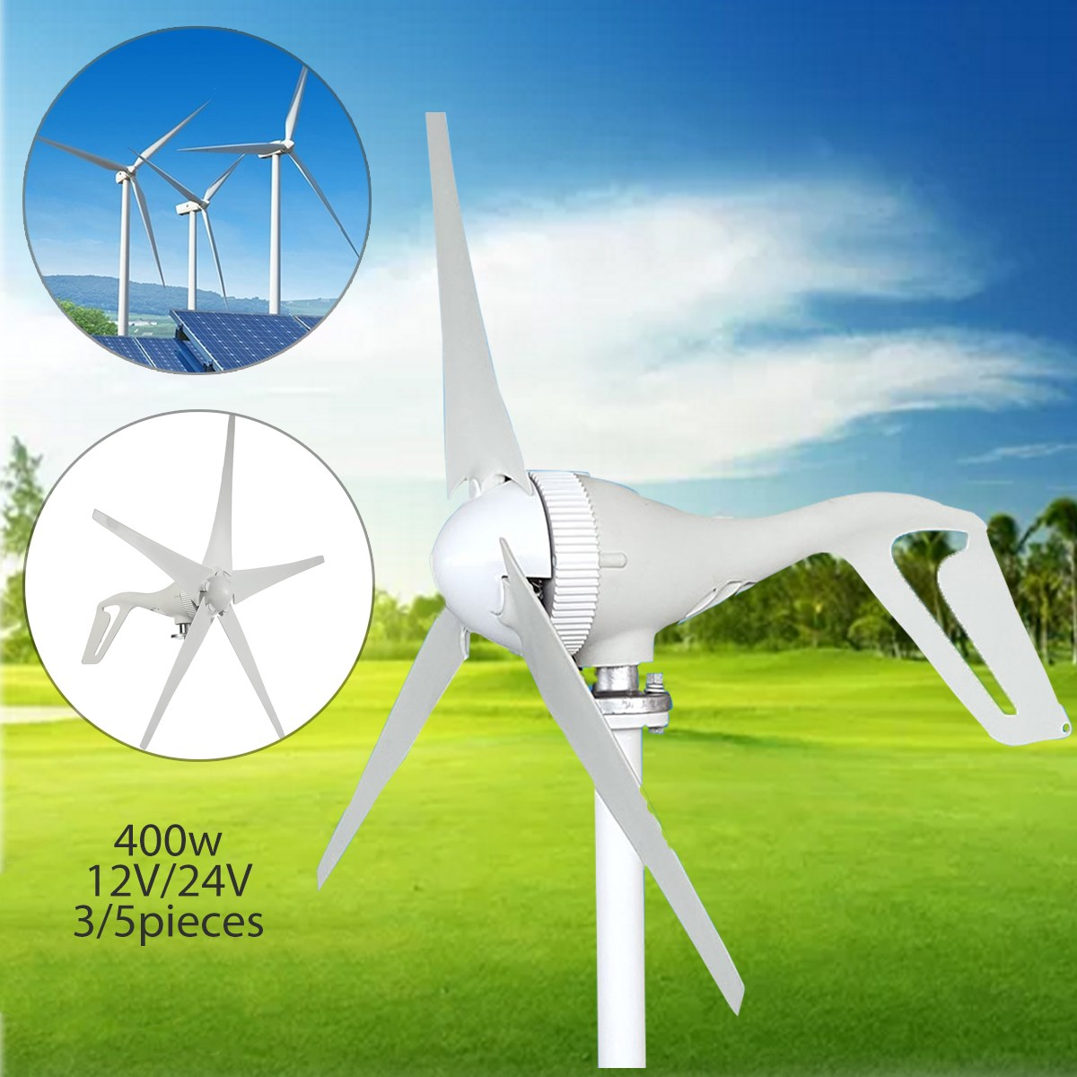 2018 Hot Sale 400W 12/24V Wind Generator Automatic Adjustable 3/5 Blades Wind Generator For Home Or Marine Power Supply