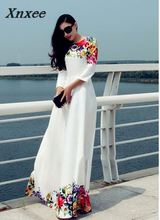 Spring and summer fashion prints. Long, high-end ladies party dresses. Pure color printing, comfortable elegant Xnxee